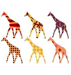 Giraffe in ethnic style set vector image