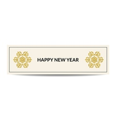 Happy new year banner with golden snowflake vector