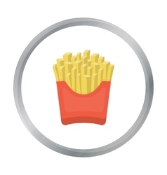 French fries icon in cartoon style for web vector