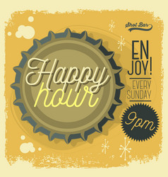 Happy hour new age 50s vintage poster sign design vector