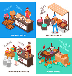Greengrocer market compositions set vector