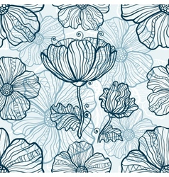 Monochromatic poppy flowers seamless pattern vector
