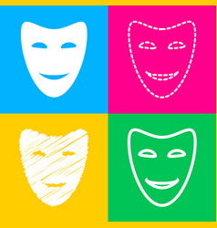 Comedy theatrical masks four styles of icon on vector
