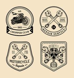 vintage biker club signs motorcycle repair vector image