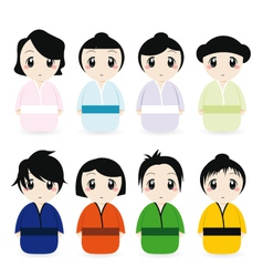 cartoon geisha set vector image