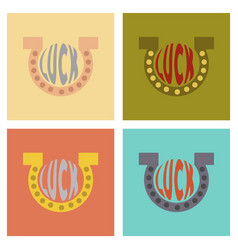 Assembly flat icons poker good luck logo vector