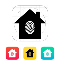 Fingerprint home secure icon vector