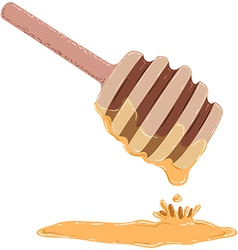 Stick dripping with honey vector