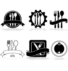 Restaurant and food labels vector