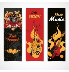 Rock music banners set vector