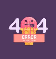 404 ice-cream error page not found flat vector image