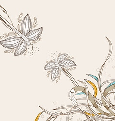 Doodle floral background hand drawn retro vector