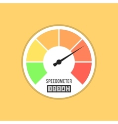 Speedometer icon isolated on yellow background vector