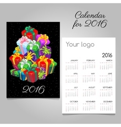 Festive calendar with a mountain of gift boxes vector