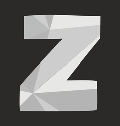 Z low poly wrapping surface alphabet letter vector