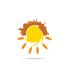 Sun with famous monument vector