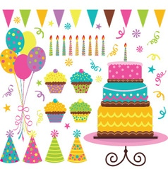 Birthday celebration elements vector