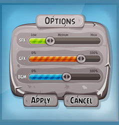Cartoon stone control panel for ui game vector