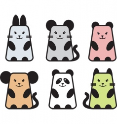 cute animal icons vector image vector image