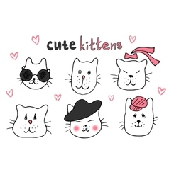 Cute cat doodle series cat avatars Cats sketch vector image