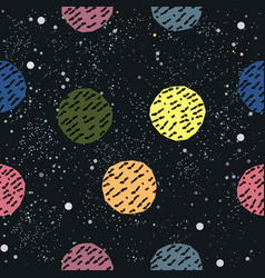 cute hand drawn pattern with colorful balls on vector image
