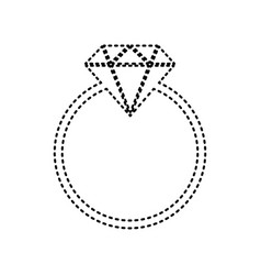 diamond sign black dashed vector image vector image