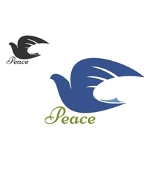 Dove blue silhouette as a symbol of peace vector image vector image