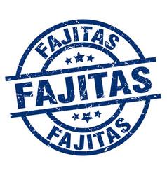 fajitas blue round grunge stamp vector image
