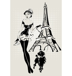Fashion woman near Eiffel Tower with vector image