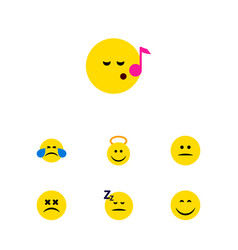 Flat icon face set of descant smile cold sweat vector