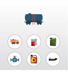 Flat icon petrol set of boat flange jerrycan and vector