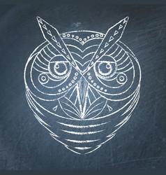 geometric owl on chalkboard vector image vector image