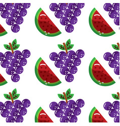 Grapes and slice watermelon fruit seamless pattern vector