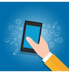 Hand holding mobile devices get access to open vector