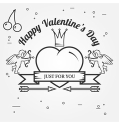 Just for you Happy Valentines Day greetings card l vector image vector image