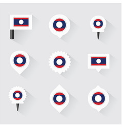 Laos flag and pins for infographic and map design vector