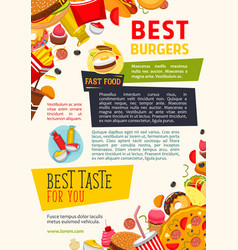 Poster for fast food burgers restaurant vector