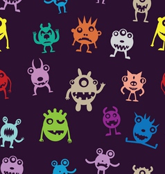 Seamless pattern of funny monsters vector image
