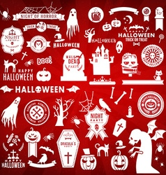 Set of Happy Halloween white silhouettes on red vector image vector image