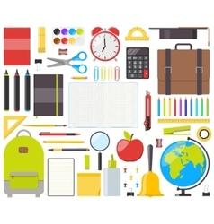 Set of isolated school supplies vector