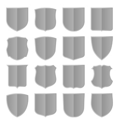 Silver shields set vector image vector image