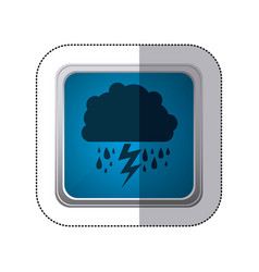 Sticker blue square button with silhouette cloud vector