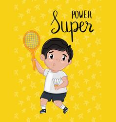 Super power kids postcard template vector