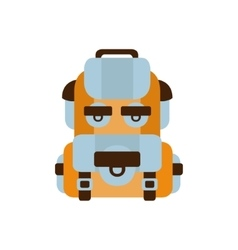 Travelling blue and orange backpack camping and vector