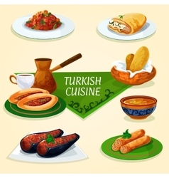 Turkish cuisine dinner with dessert coffee icon vector