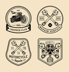 Vintage biker club signs motorcycle repair vector