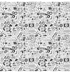 web doodles seamless background vector image vector image