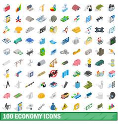 100 economy icons set isometric 3d style vector