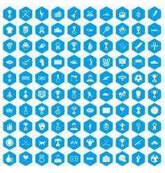 100 medal icons set blue vector