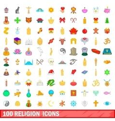 100 religion icons set cartoon style vector
